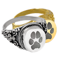 Round Ring Pet Cremation Jewelry Pawprint shown in silver and gold metals