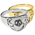 Engravable Shield Ring- Noseprint shown in silver and gold