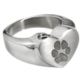 Paw Print Heart Ring pet with compartment jewelry front shown
