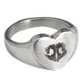 Pet Memorial Jewelry Stainless Steel Heart Ring with Noseprint