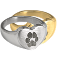 heart ring with actual paw print in silver and gold