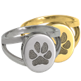 Ring with Paw Print engraved onto front