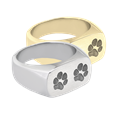 2 Paw Prints engraved on rectangle ring available in silver or gold