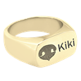 Rectangle Ring Engraved with Nose Print in yellow gold