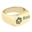 Gold Rectangle Ring engraved with paw print and pet name