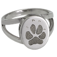 Ring with Paw Print engraved onto front in silver