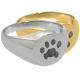 Elegant Round Ring with actual Paw Print in silver or gold