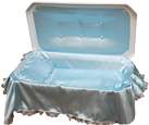 Deluxe Pet Casket- White with Blue Bedding and Upholstery