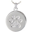 front view of paw print & bones pet urn pendant