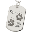 Sterling Silver Dog Tag 2 Paw Prints Pet Memorial Jewelry