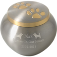 dog urns golden pair of paw prints pet urn shown engraved