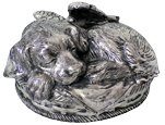Sleeping Angel Dog Metal Urn - Silver