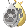 Slide Teardrop Pawprint shown in silver and gold options