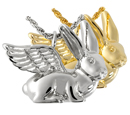 Pet Cremation Jewelry- Bunny Rabbit shown in silver and gold metals