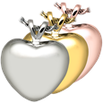 Cremation Jewelry- Strong Heart shown in silver and golds