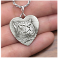 custom pet photo engraved onto sterling silver flat heart charm