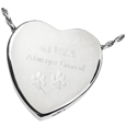 Peaceful Heart pet cremation jewelry shown engraved