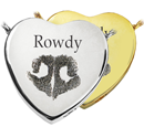 Pet Print Cremation Jewelry- Peaceful Heart Noseprint in silver and gold