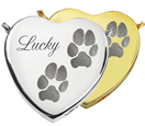 Pet Cremation Jewelry- Peaceful Heart 2 Pawprints shown in silver and gold