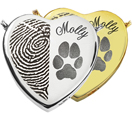 Peaceful Heart, Half Fingerprint + Pawprint shown in silver and gold