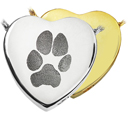 Pet Print Cremation Jewelry- Peaceful Heart Pawprint in silver and gold