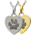 Petite Heart Pawprint Jewelry in silver or gold