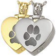 Heart Filigree Bail with Actual Pawprin in silver and gold