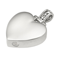 Urn opening shown at base of Heart Filigree Bail pet cremation jewelry