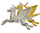 Angel Horse Cremation Jewelry shown in silver and gold