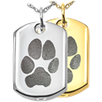 Dog Tag Actual Pawprint Cremation Jewelry in silver and gold options