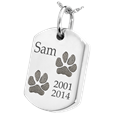 Silver Dog Tag with 2 Paw Prints Pet Ash Jewelry