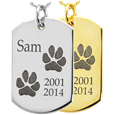 Dog Tag 2 Paw Prints Pet Memorial Jewelry shown in silver and gold
