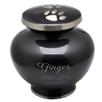 Paw Prints Footed Pet Urn with engraved name