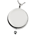 Silver Simple Round Pet Cremation Jewelry with open lid