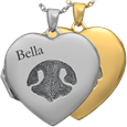 nose print pet heart jewelry in silver or gold metal