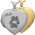 Heart Photo Locket Paw Print Pet Memorial Jewelry