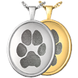 Oval Rimmed Paw Print Pendant in silver or gold