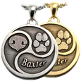Round Nose Paw Name Tri-Design in silver and gold