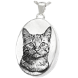 pet photo jewelry with chamber in silver