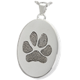 ash-holding pet jewelry with engraved paw print