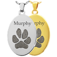 Oval Pet Memorial Jewelry with actual paw print