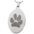 oval pet jewelry with engraved paw print does not hold ashes