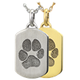 Petite Dog Tag Paw print Jewelry in silver or gold metal