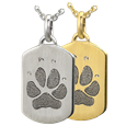 Petite Dog Tag Pawprint Jewelry in silver or gold metal