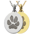 Petite Oval Pawprint Jewelry in silver and gold