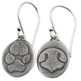 paw print and nose print silver earrings