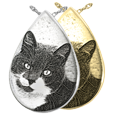 Slide Teardrop Pet Jewelry engraved with custom photo