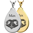 Teardrop Noseprint pet cremation jewelry in silver or gold