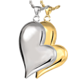 Teardrop Heart Pet Cremation Jewelry in silver or gold