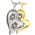 Pet Cremation Jewelry Teardrop Heart 2 Pawprints shown in silver and gold